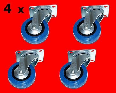 4 x 100mm Blue Wheels Schwerlast Rollen Lenkrollen ISO 9001 Germany BW Le-Le