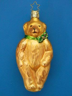 Inge Glas Golden Brown Bear W/ Bow German Glass Christmas Tree Ornament