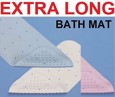 Extra Long Rubber Grip Suction Non-Slip Bath Shower Mat Natural Soft Rubber