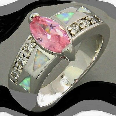 NEW SIZE 7 3/4 RING WITH BOX white wiccan haunted pink topaz crystal silver 7.75