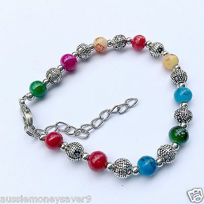 Adjustable baby girls T silver charm Bracelet Bangle Beads pink red blue yell
