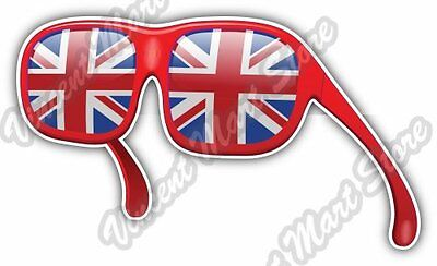 "United Kingdom Union Jack Flag Sunglasses Car Bumper Vinyl Sticker Decal 5""X3.5"""