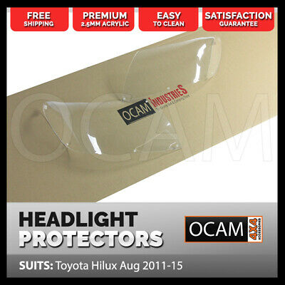 OCAM Headlight Headlamp Protectors for Toyota Hilux Aug 2011-15 Lamp Covers