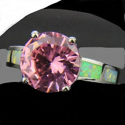 Beautiful Size 7 Ladies Ring + Free Gift Box! Silver Witch Haunting Pink Topaz