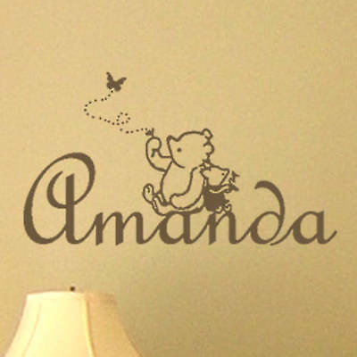Classic Winnie the Pooh & Piglet PERSONALIZED Vinyl Wall Decal Nursery Wall Art