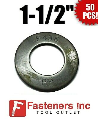 "(QTY 50) 1 1/2"" x 3""OD Grade F436 Round Structural Flat Washer Plain Finish"
