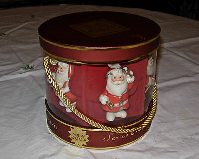 LENOX Set of 5 Santa Ornaments For the Holidays collectible 2004 New In Box