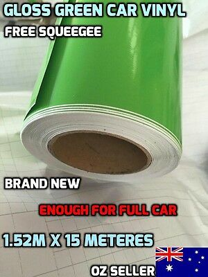 BRAND NEW Gloss GREEN Car Vinyl Wrap Sticker1.52m X 15 Metres , FREE SQUEEGEE,OZ