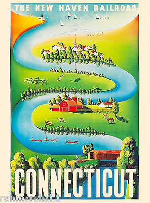 Connecticut United States America Haven Vintage Travel Advertisement Art Poster