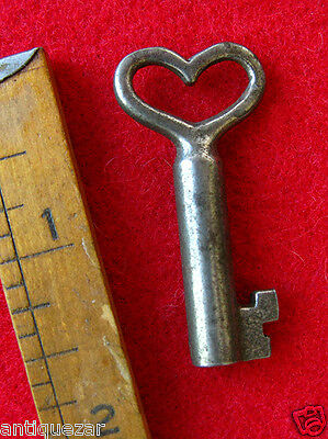 GENUINE Romantic Victorian Skeleton Key w/ Heart Bow - More Rare Old Keys Here