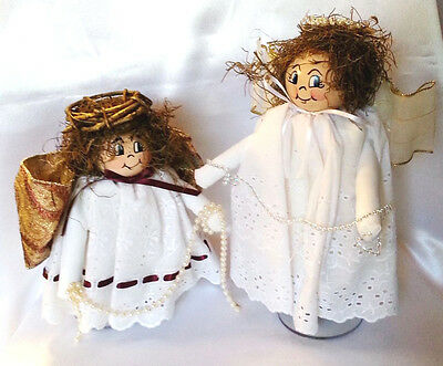 Musical Angels Wood Face Block Body Painted Rotating Stand Set of 2