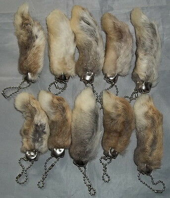 """Set of 10 Natural Color Real Rabbit's Foot Keychains - Bulk Lot - """"NEW"""""""