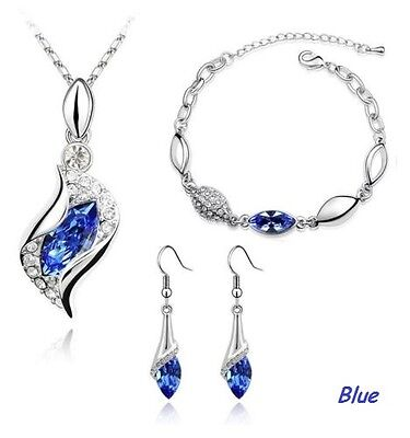 Amazing Bridal SAPPHIRE BLUE Crystal Jewelry Set Earrings Pendant & Necklace