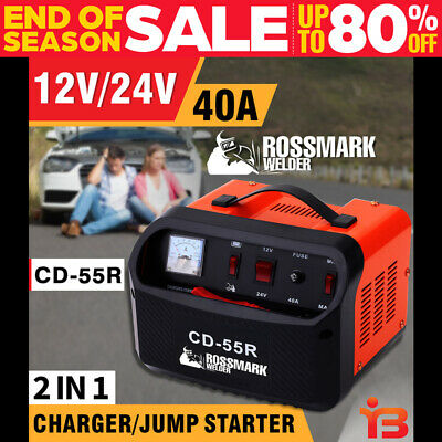 NEW CAMPMARK 2 IN 1 Car Battery Charger Jump Starter 40A 12V/24V ATV Boat Truck