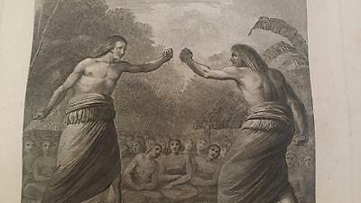 Captain James Cook Plate 15 Atlas 1784 A Boxing Match in Hapaee Tonga Engraving