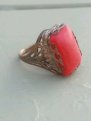 Art nouveau Victorian BRASS ring sz3 w Rhodium Lilly filigree Coral Red glass ?