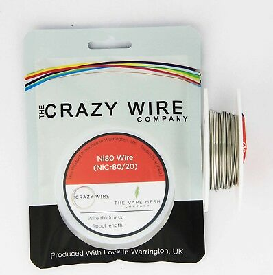 17 AWG (1.15mm) Nichrome (Ni80) Resistance Wire 10 Metre Spool by Crazy Wire Co