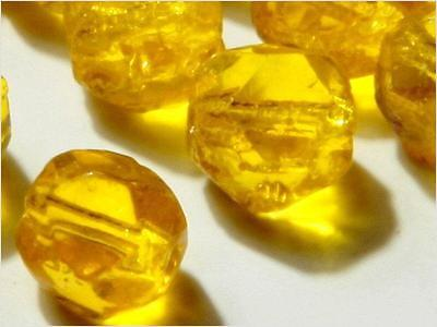 Lot 10mm (24) Vintage Czech Bohemian faceted yellow English cut glass beads
