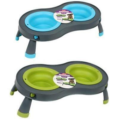 DEXAS Collapsible DOUBLE ELEVATED FEEDER Twin Feeding Station Food Water Bowl