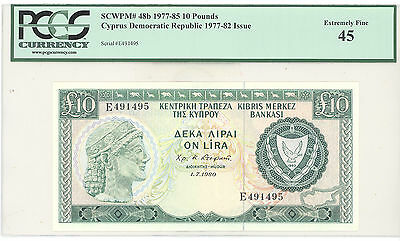 1977 Cyprus Democratic Republic, 10 Pounds PCGS 45 Extremely Fine, P#: 48b