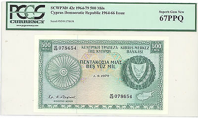 1964 Cyprus Democratic Republic, 500 Mils PCGS 67 PPQ Superb Gem New, P#: 42c