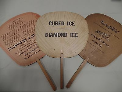Vintage 20's 30's Diamond Ice Coal Co Charleston West Virginia Paper Fan Lot Adv