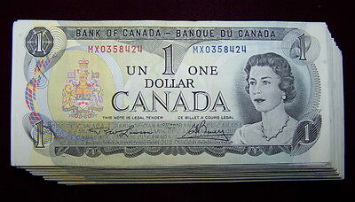BANK OF CANADA 1973 $1 NOTES BC-46a  EF+ to nice AU 10 PCS LOT