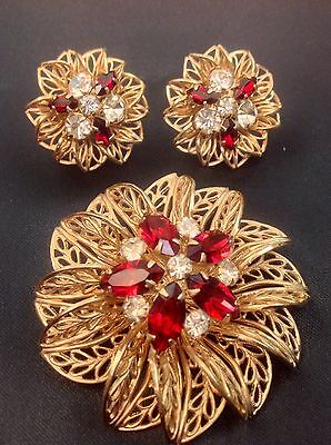 Vintage 50 S Brooch Earring Set Gold Tone Filigree Flower By Scitarelli Signed