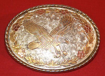 EAGLE BELT BUCKLE GOLD SILVER ROSE TONES PLATED VINTAGE 1980s MADE IN USA