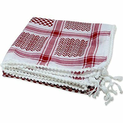 Red/White Shemagh Men Head Scarf Chequered Arabic Keffiyah Neck Scarves Keffiyeh