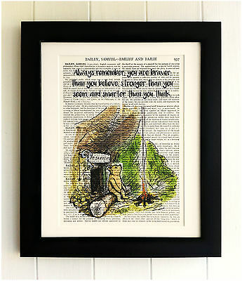 ART PRINT ON OLD ANTIQUE BOOK PAGE *FRAMED* Winnie the Pooh, Bear Quote, Vintage