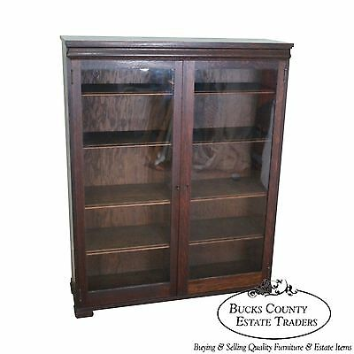 Antique Mission Style Oak 2 Door Bookcase