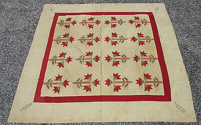 "Estate Found Handmade Quilt with Flowers 78"" x 78"" Signed + Dated 1884"