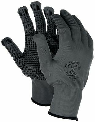 1 or 12 Pairs Polyco Matrix D Grip Grey PVC Dotted Grip Palm Safety Work Gloves