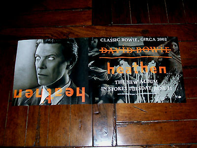 """David Bowie 2002 Heathen PROMO USA Record Store CD Release Poster 24""""X10"""""""