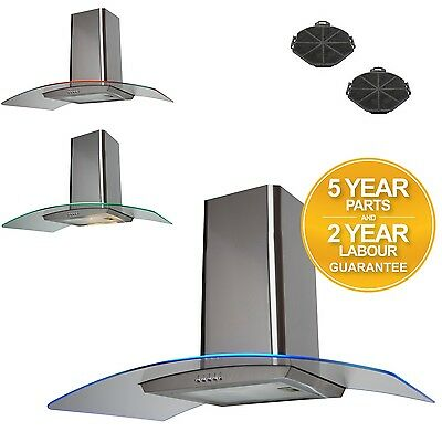 SIA 90cm Multi Coloured LED St/Steel Cooker Hood Extractor Fan + Carbon Filters