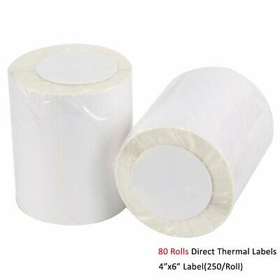 80 Rolls 4x6 Direct Thermal Labels 250/Roll For Zebra 2844 ZP450 Eltron USPS