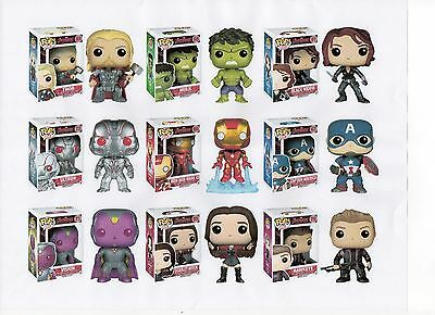 "Funko MARVEL AVENGERS 2 TWO 3.75"" FIGURE 9PC SET Thor Hulk Ultron Vision & GANG"
