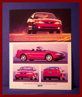 1997 Ford SVT MUSTANG COBRA Technical Data Brochure - MINT Condition