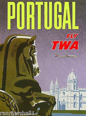 Portugal by Clipper Airplane Vintage Lisbon Travel Advertisement Poster Print 8