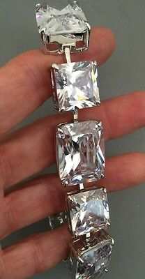 ESTATE Sparkle BRACELET Faceted Cubic Zirconia BOLD Link  Rodium Plated