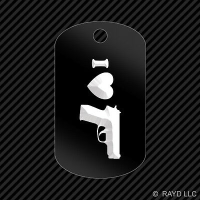 I Love my P229 Keychain GI dog tag engraved many colors Sig Sauer P228