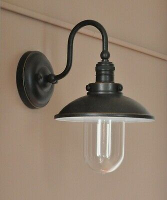"""PORT""-VINTAGE INDUSTRIAL EXTERIOR WALL BRACKET-ANTIQUE BRONZE-porch light-RETRO"