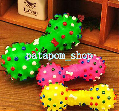 Colorful Lovely Pet Dog Puppy Cat Squeaky Squeaker Sound Chew Toy Chews Bone New