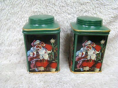 2002 Coca Cola Stoneware Square Canister Santa Set with Lids, Holiday Decor