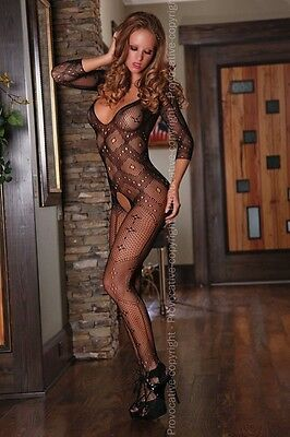 Sexy Netz Body Stocking Netzbody Catsuit Karomuster Overall Rauten Body Karo