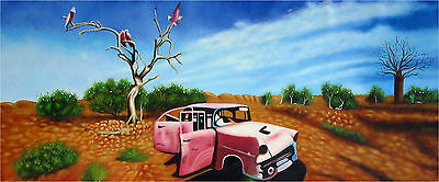 60cm x 30cm Australia Art Painting print Canvas retired to outback landscape