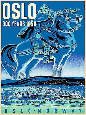 Oslo Norway Norwegian Viking European Vintage Travel Advertisement Art Poster