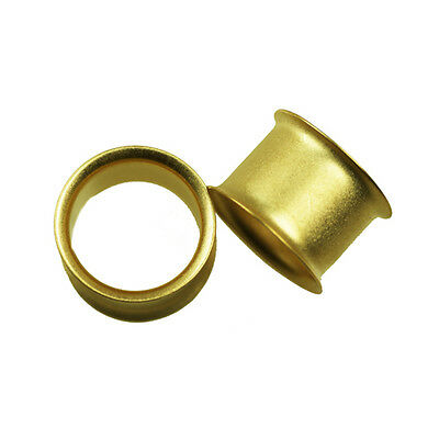 OR MAT Tunnel Oreille Doubleflared Piercing D'oreille NEUF TOP QUALITé plaqué or