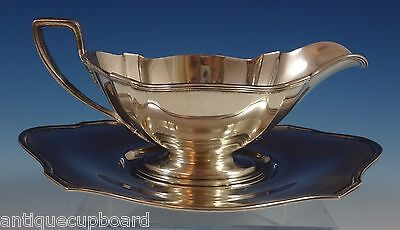 """Plymouth by Gorham Sterling Silver Gravy Boat & Underplate 3 7/8"""" Tall (#0857)"""